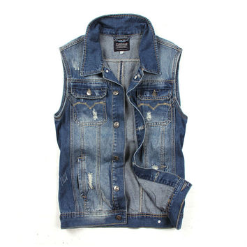 Korean Rinsed Denim Denim Casual Weathered Vintage Vest = 6458328771