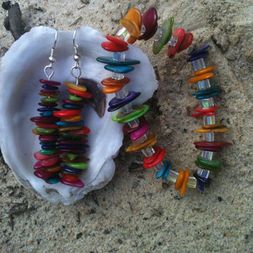 Colorful Seashell Earrings and Bracelet Set Natural Beach Accessories