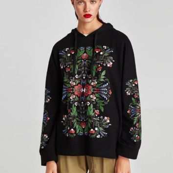 Women Casual Flower Print Hooded Long Sleeve Pullover Sweater Tops