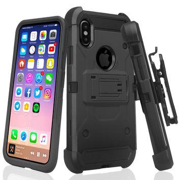Apple iPhone X, Iphone 10 Case, Rugged Tri-Defender Hybrid Holster [Kickstand] Rotating Clip Case Cover - Black
