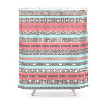 Society6 Peach Rose Baby Blue Aztec Tribal Native Pattern Shower Curtains