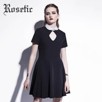 Women Goth Dress Street Witch Dark Cool Fashion Preppy Gothics Mini Dress