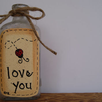 Vintage bottle country home decor, Hand painted ladybug decor, Cottage chic home decor, Love you ladybug decoration, Valentine's day gift
