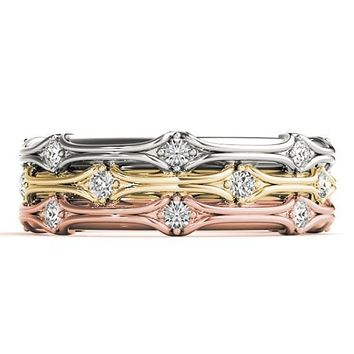 Stackables 3/4 Eternity Tri-Tone Gold Tapered Etched Shank 3-Band Set Selectables