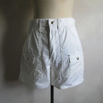 Vintage 70s Mens Shorts White Cotton Tennis 1970s Old School Shorts W32