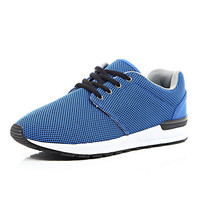 River Island MensBlue mesh thick sole sneakers