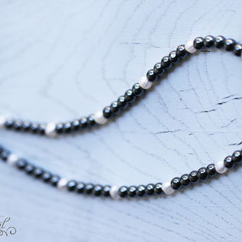 Freshwater pearl and hematite necklace, Black and white Pearl and Hematite necklace, Beaded necklace