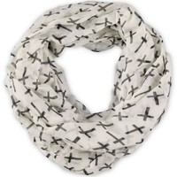 D&Y White Cross Print Infinity Scarf