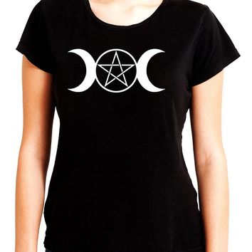 White Triple Moon Goddess Pentagram Women's Babydoll Shirt Top Witchy Clothing