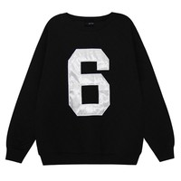 ZLYC British Style Scoop Neck Letter 6 Pattern Column Fleece Hoodie For Women