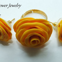 Polymer Clay Jewelry Set Sunny Roses in yellow by ByLilyjewelry