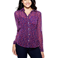 Heart Print Chiffon Button-Down Shirt - Navy Multi