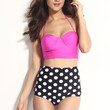 Pink Push Up Bikini with High Waisted Polka Dot Bottom