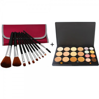 20 Color Concealer Camouflage Eyeshadow Palette + 10pcs Makeup Brush Set with Bag Peachblossom Red