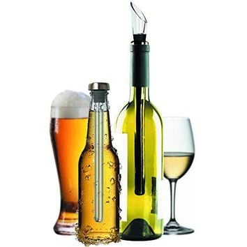 Unique Gift for Drinkers, Set of Wine and Beer Chiller Stick, Pack of 2 Bottle Coolers - Aerator Pourer Accessories - Best Idea for Couples, Secret Santa - Are Husband Wife Dad Mom Wine Beer Lovers?