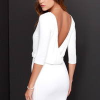 LULUS Exclusive All or Nothing Ivory Backless Dress