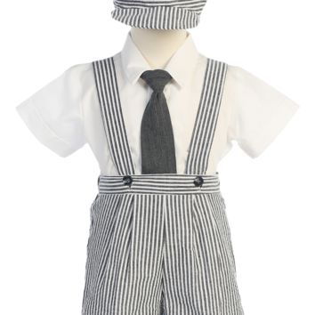 Charcoal Grey Suspender Shorts 4 Piece Outfit in Striped Cotton Seersucker (Baby or Toddler Boys Sizes)