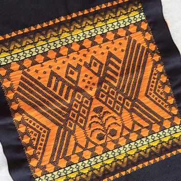 Orange and black tribal textile/ vintage woven wall decor/ bohemian ethnic decor/ orange yellow black wall hanging