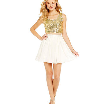 B. Darlin Sequin Bodice Two-Piece Dress | Dillards