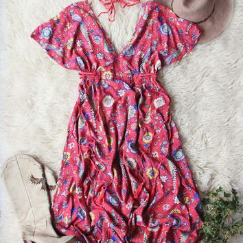 Lovebird Maxi Dress in Red