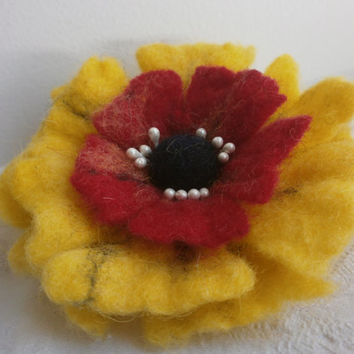 Felt brooch,black yellow red flower brooch,yellow brooch flower poppy,felted flower,felt jewelry,felt flower brooch,wet felt pin,felt flower