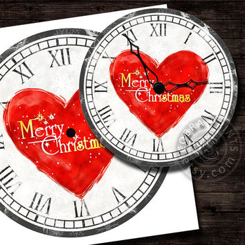 "Christmas DIY Clock Face - 12"" Digital Sheets CP-286 - Printable Image - Iron On Transfer - Wall Decor - Crafts - Instant Donwload"
