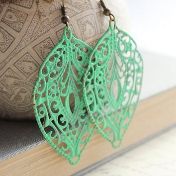 Patina Earrings Jade Green Patina Filigree by apocketofposies