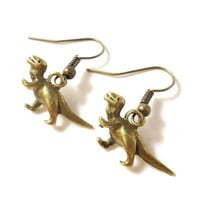 Dinosaur Charm Earrings, Bronze Dinosaur Earrings, Antique Brass Metal Dangle Earrings, T-Rex Earrings, Drop Earrings, Women's Jewelry