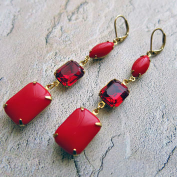 Retro Red Earrings Red Bridal Earrings Red Bridal Jewelry Ruby Red Bridesmaid Earrings Red Wedding Valentine's Day Gift