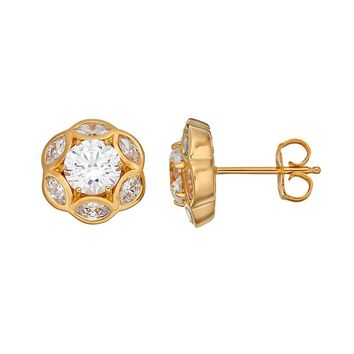 Emotions 18k Gold Over Silver Flower Stud Earrings - Made with Swarovski Cubic Zirconia (White)