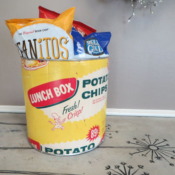Lunch Box Potato Chips Bin Chip Bin Kitchen Storage Storage Bin Canister Bread Box Yellow Kitchen
