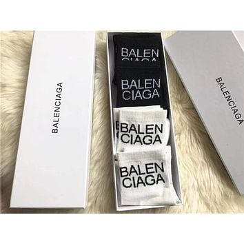 Balenciaga Woman Men Cotton Socks Stockings