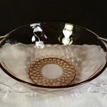 Pink Depression Glass Bowl Fan Shell Double Handles Bubble Quilted Glass Art Deco Vintage 1930's Depression Glass Round Serving Dish