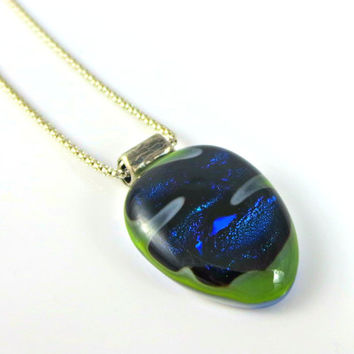 Sterling silver necklace, blue pendant, stone pendant, fused glass jewelry, green, triangle necklace