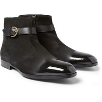Jimmy Choo - Bryant Patent Leather and Suede Boots   MR PORTER