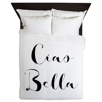 Duvet Cover - Ciao Bella - Ciao Bella Duvet Cover -Teen Room Decor - Teen Bedding - Girls Bedding - Dorm Bedding - Black and White - Dorm