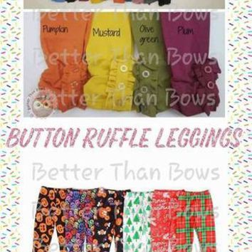 Button Ruffle Leggings - Solid Colors and Holiday Prints (Size 12) *Preorder 0408* Closes August 24th @ 8pm