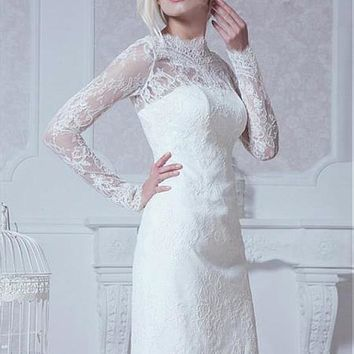 [129.99] Glamorous Tulle High Collar Neckline Sheath Wedding Dress With Lace Appliques - dressilyme.com
