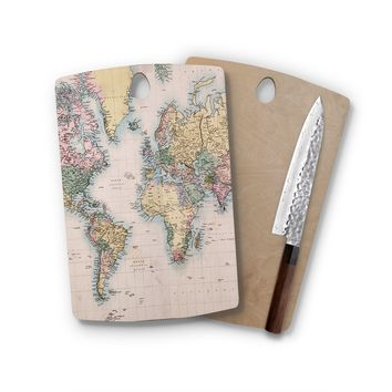Maps To The World Rectangle Cutting Board Trendy Unique Home Decor Cheese Board