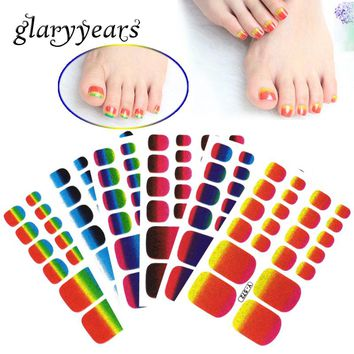 glaryyears 1 Sheet Full Cover Y Toe Nail Art Toenail Sticker Glitter Gradient Color Rainbow Decal Pedicure Foot Sticker Adhesive