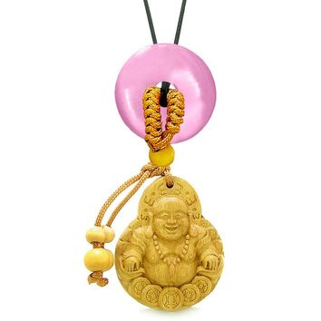 Magic Happy Buddha Car Charm Home Decor Pink Simulated Cats Eye Lucky Coin Donut Protection Amulet