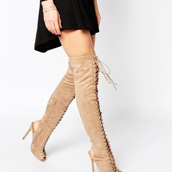 Missguided Over The Knee Lace Up Boot
