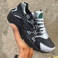"""NIKE""AIR Gucci Huarache Running Sport Casual Shoes Sneakers Grey/Black"