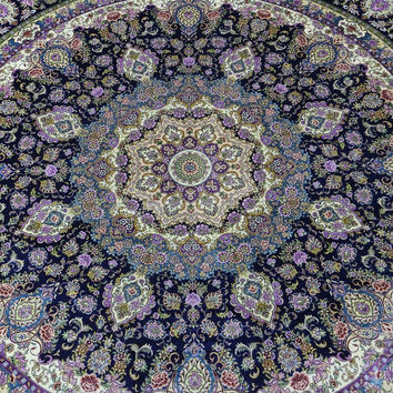 Gorgeous 9'x9' Round Hand Knotted Pure Silk Rug Classic Persian Floral Medallion Pattern (ROYX-9901, Blue)