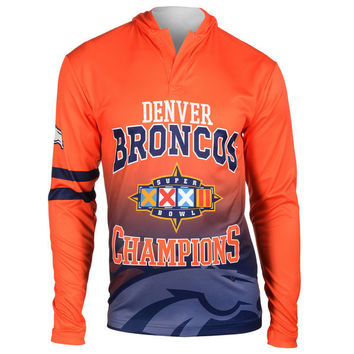 Men's Denver Broncos NFL Klew Navy On the Fifty Matchup Hooded Long Sleeve T-Shirt