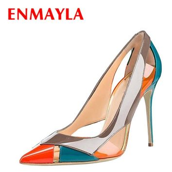 ENMAYLA 2017 New Women Summer Mixed Colors High Heels Pumps Shoes Woman Pointed Toe Stiletto Heels Cut-outs Party Ladies Shoes