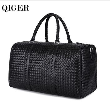 2016 Fashion Leather Woven Men's Travel Bags Black Genuine Leather Men/Women's Tote Bag Shoulder Duffle Bag