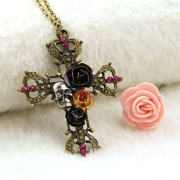 Skull Rose Cross Pendant necklace. Antique Bronze Style Cross with Skull and Rose Decoration with Pink Rhinestone. Gothic Cross Pendant