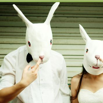 New Halloween Party Cosplay Animal Mask Latex Rabbit Mask Bunny Mask Disguises of Rabbits Face Head Mask FA11