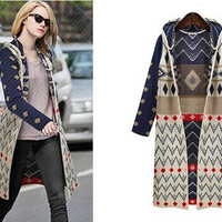 EsnaView Women Knitted Hooded Trench Coat Long Sleeves Print Cardigans Trench Sweater Autumn Winter Spring Outwear Coat for Women Girls